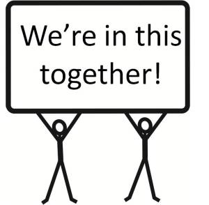Stick men partnership - we're in this together